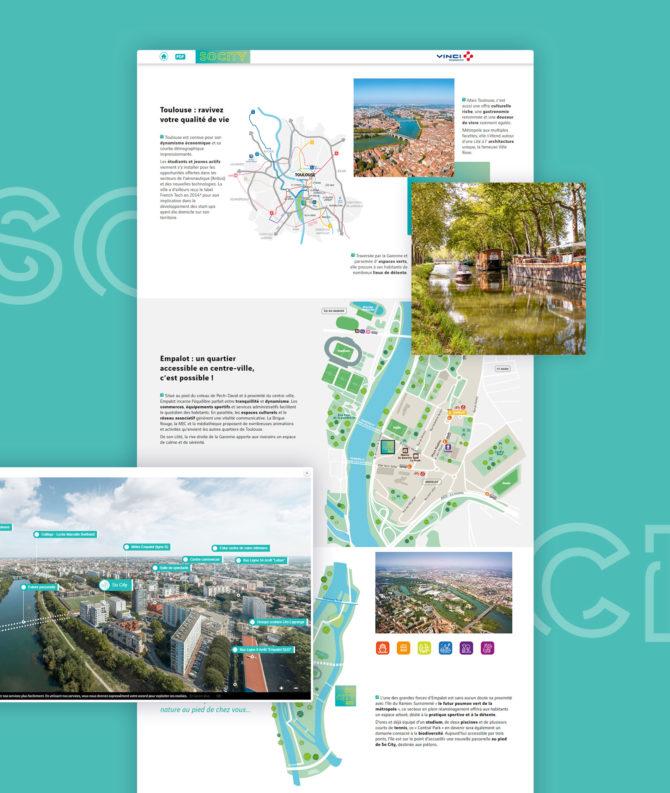 Plaquette digitale site onepage SO CITY VINCI IMMOBILIER